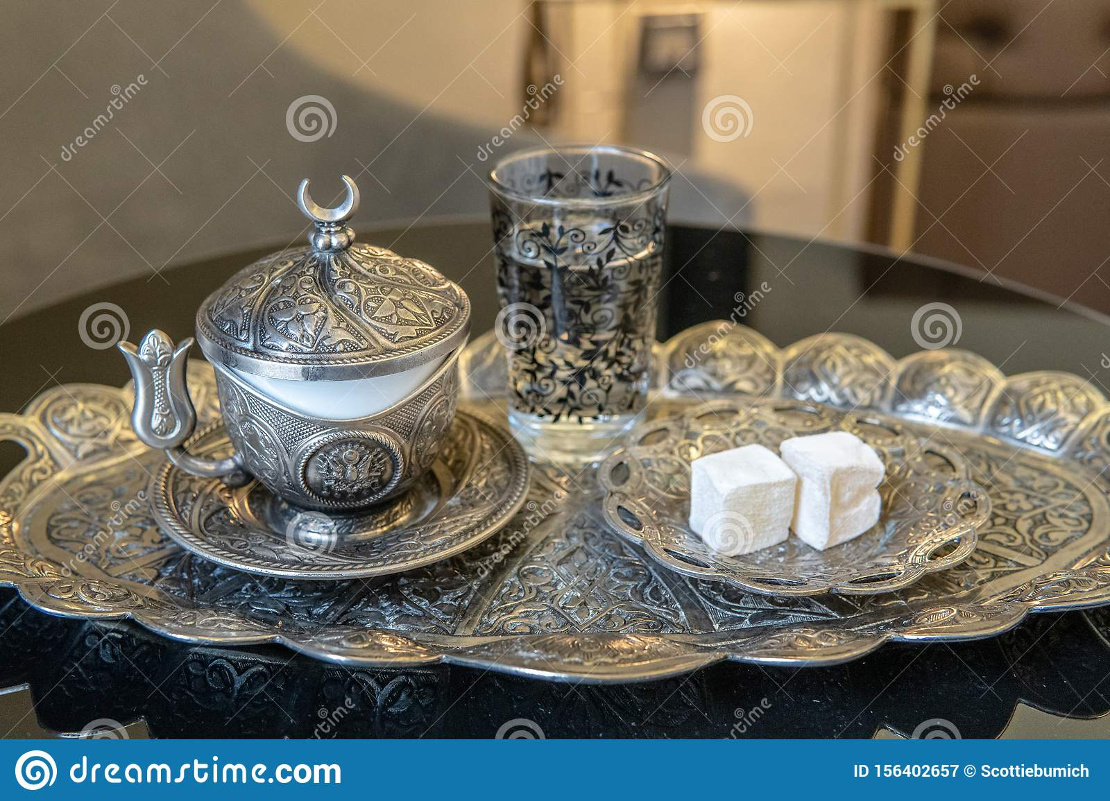 Turkish Coffee And Lokum On Silver Plate Stock Image Image Of Style Colored 156402657
