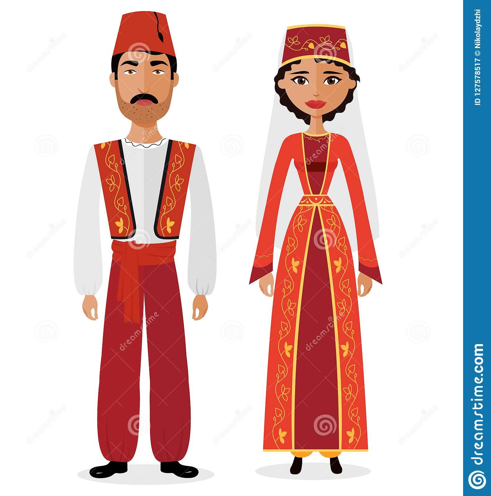 Turkish couple man and woman in traditional clothes vector illustration eps 10