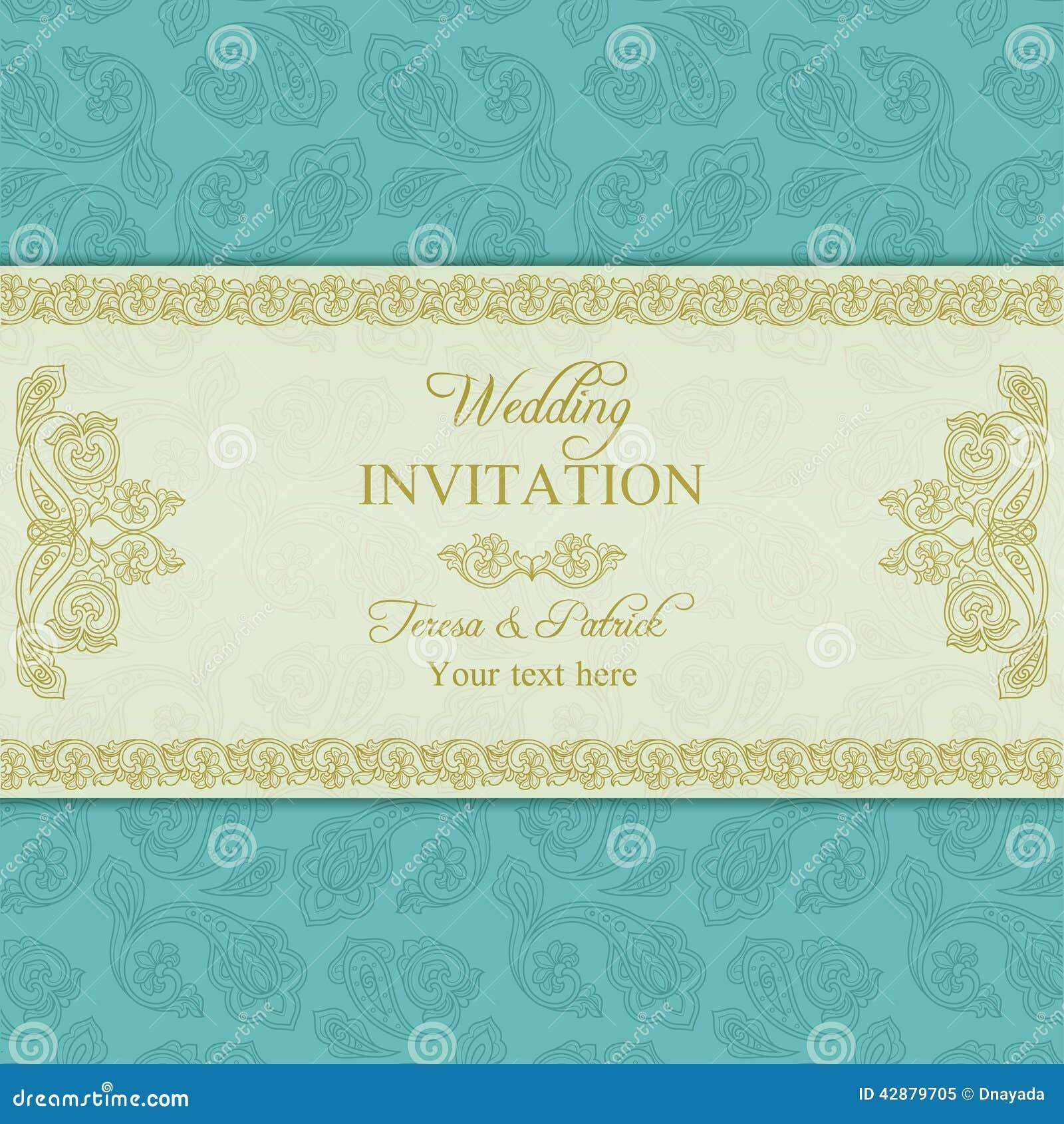 Turkish Cucumber Wedding Invitation Gold And Blue Stock Vector Illustration Of Decorative