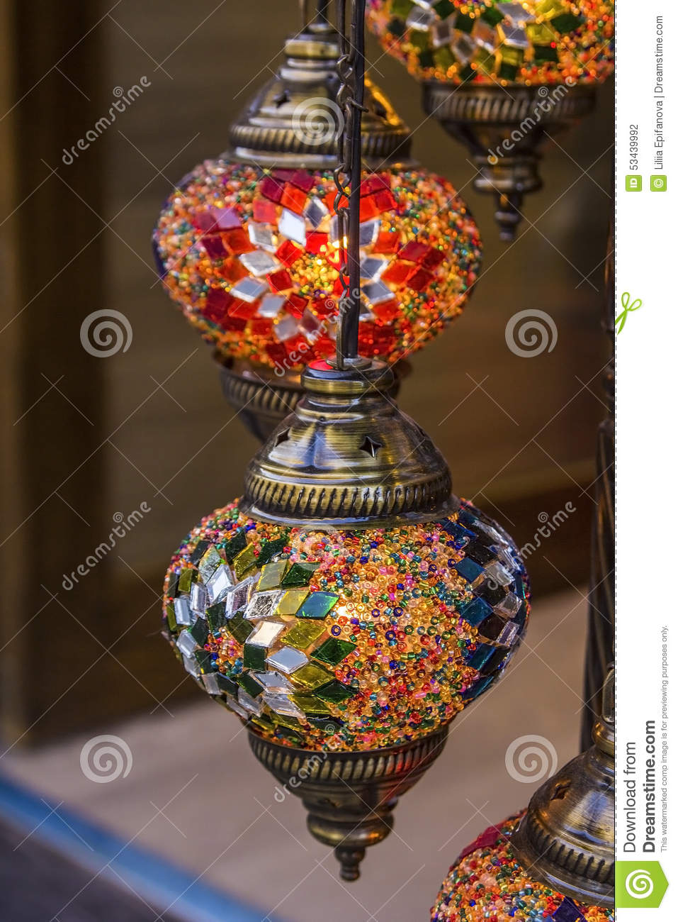turkish decorative lamps of glass mosaics in the bazaar - Decorative Lamps