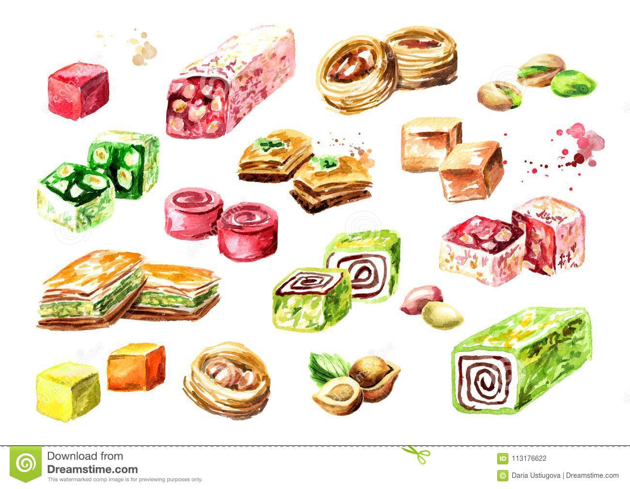 Turkish delights set. Watercolor hand drawn illustration, isolated on white background