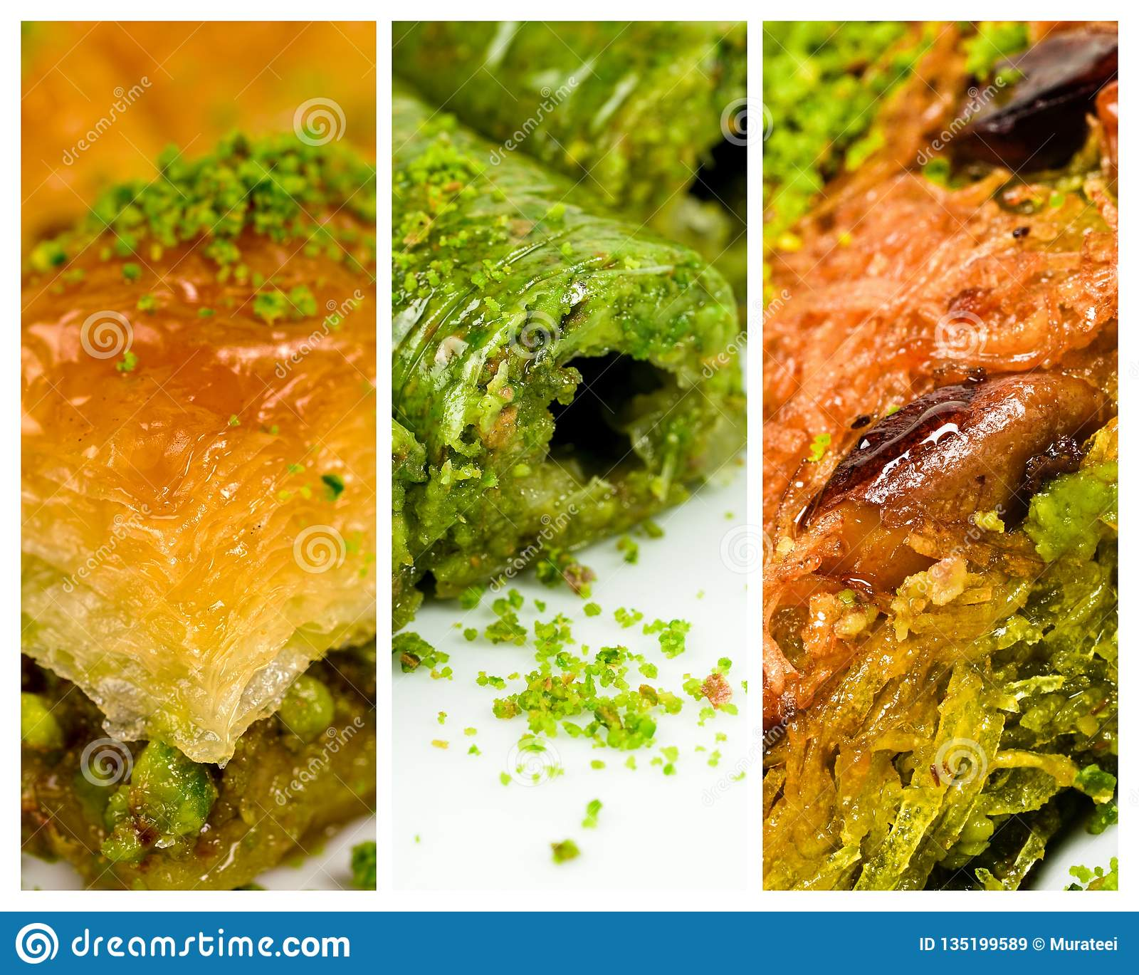 Turkish desserts, baklava, roll and kadayif