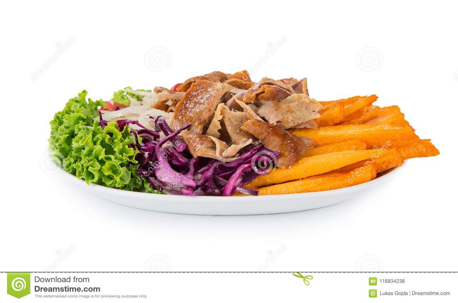 Turkish Doner Kebab Plate On White Background Stock Photo Image Of Horizontal Life 116834238