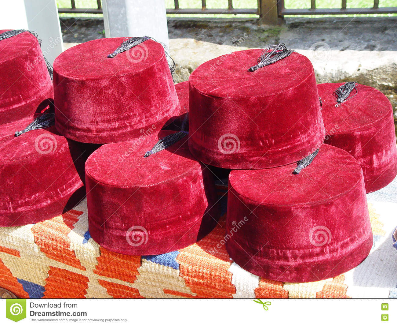Turkish Fez For Sale On The Local Market. Turkey Stock Image - Image ... 81b0cae137f