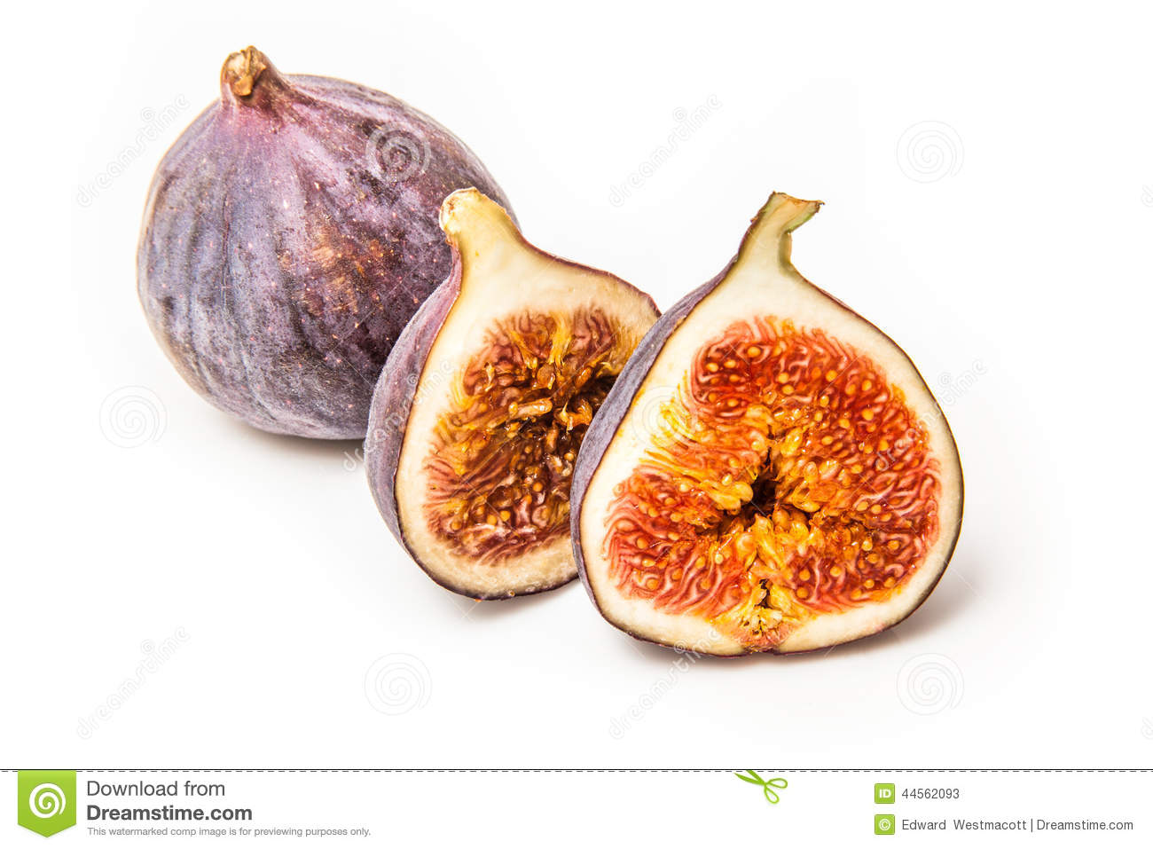 Turkish figs isolated on a white studio background.