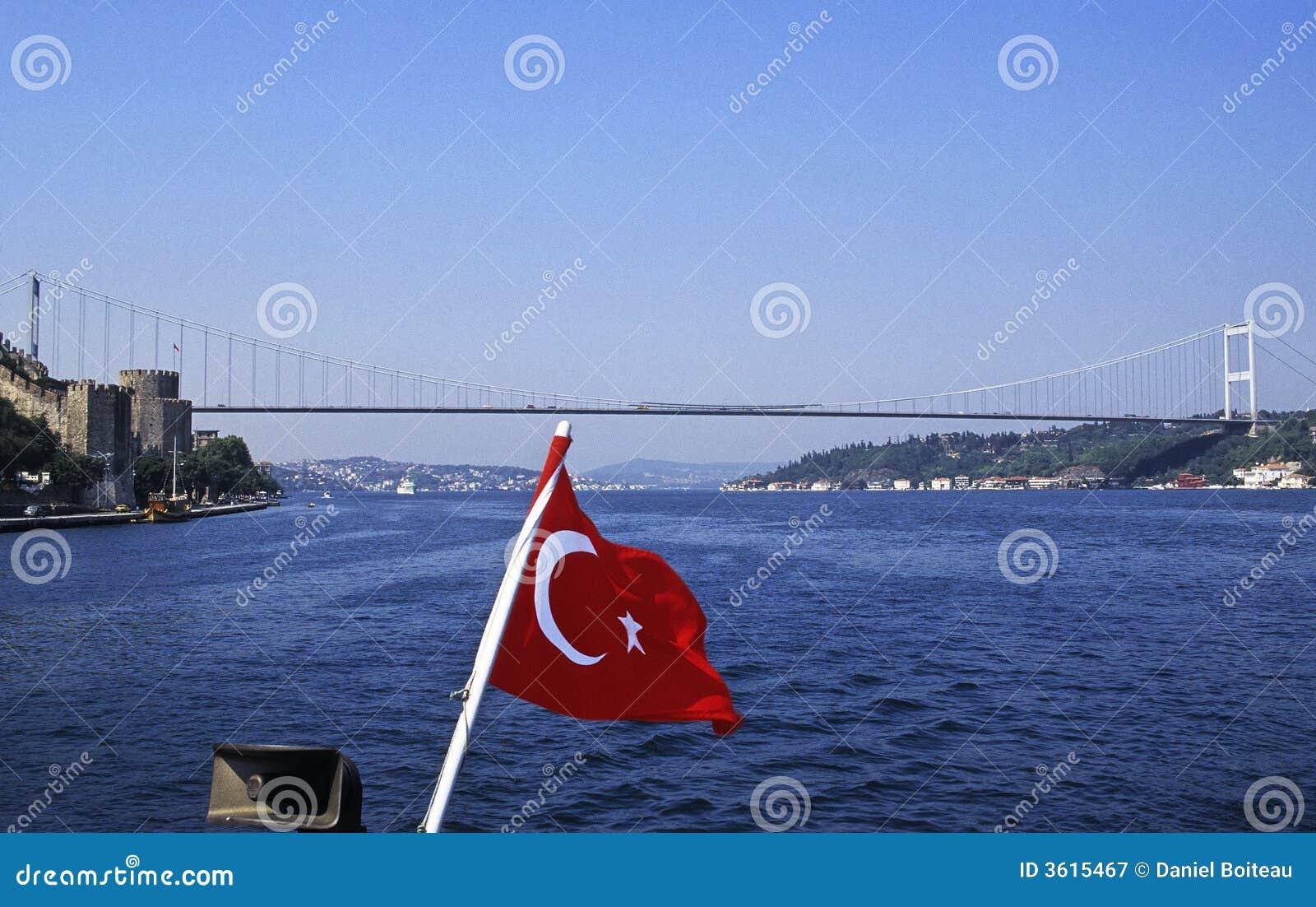 Turkish flag on Bosphorus
