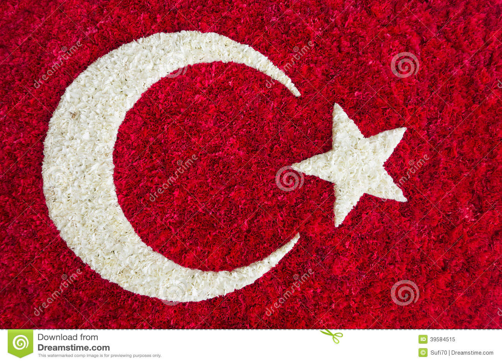 Turkish Flag Made Of Flowers Stock Illustration Illustration Of
