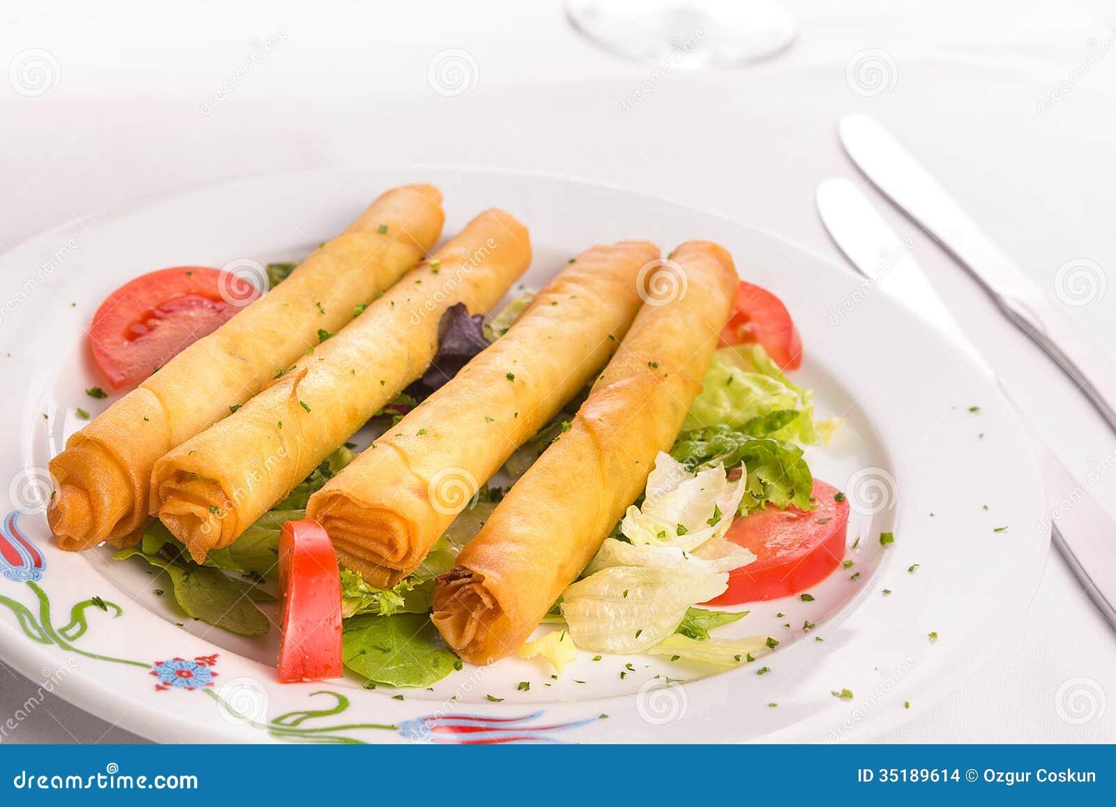 Turkish Fried Sigara Borek Served With Vegetables Stock Images - Image ...