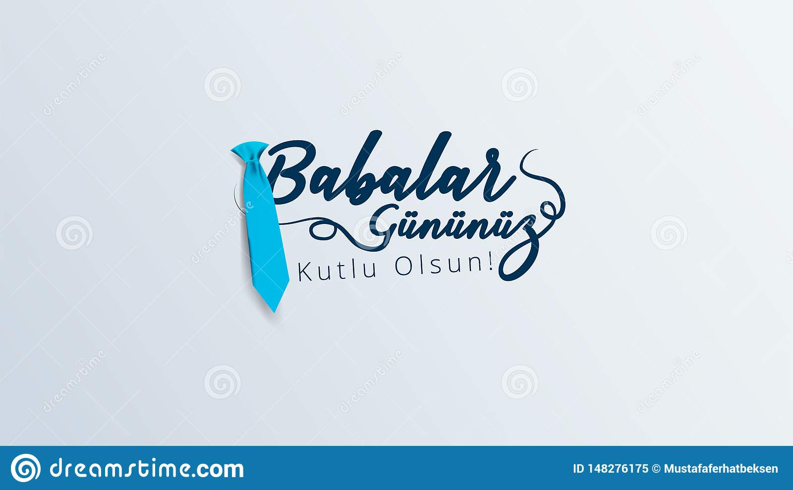 Turkish holiday `Babalar Gunu` Translate: Happy Father`s Day Calligraphy greeting card. Vector illustration.
