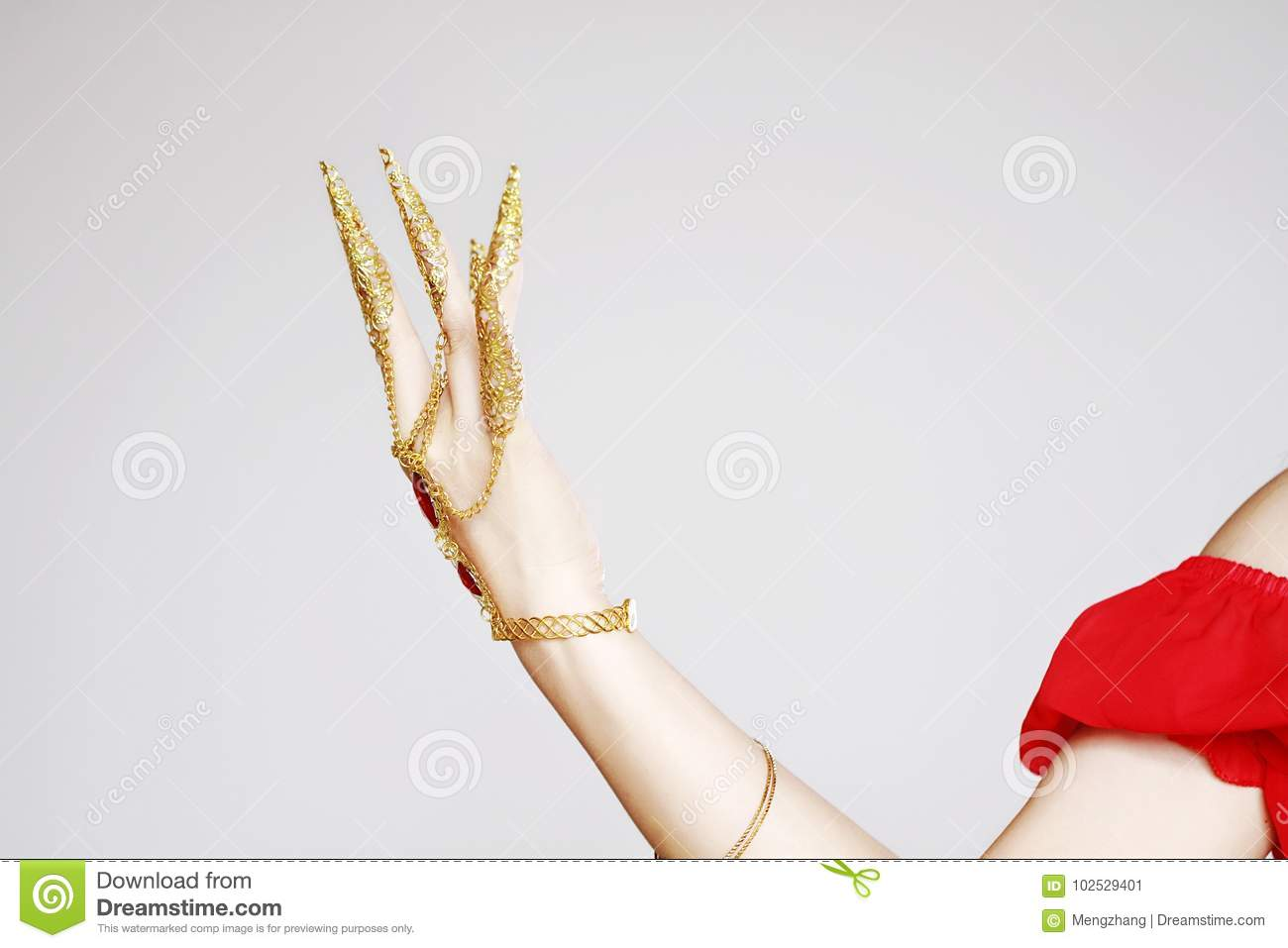 Turkish Or India Adornment Of Belly Dancer`s Hand In White ...