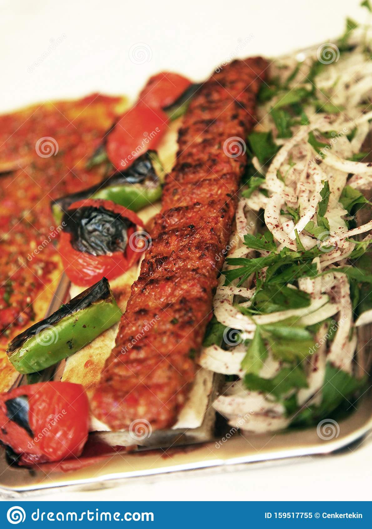 Turkish Kebab With Lahmacun Stock Image Image Of Grilled Delicious 159517755