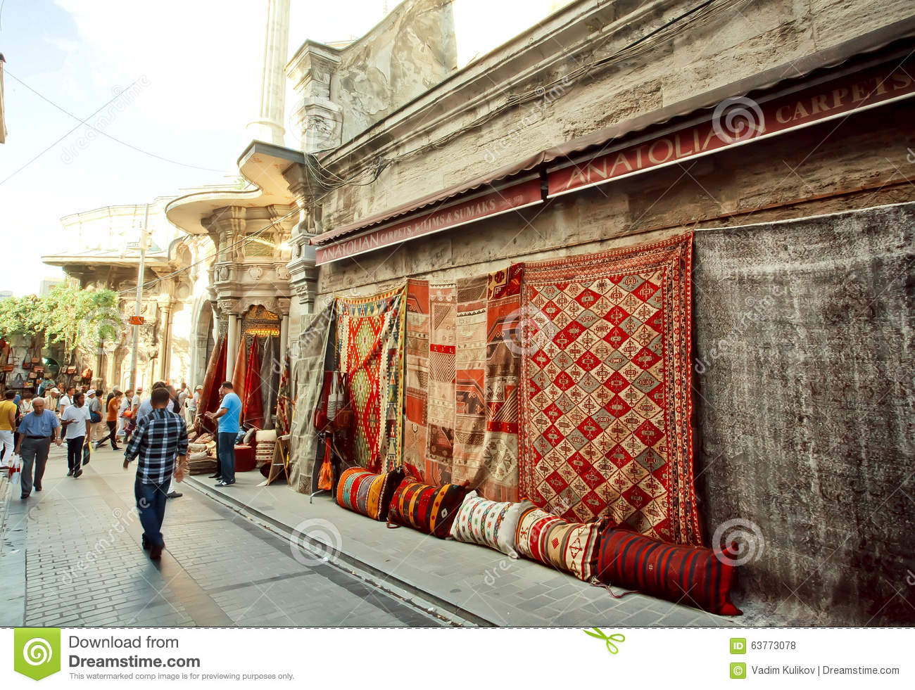 Turkish And Persian Carpets For Sale In Outdoor Market