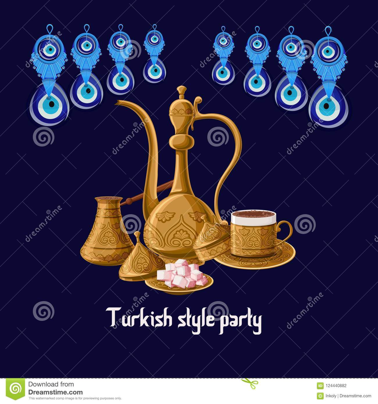 Turkish style party greeeting card with evil eyes and brass utensils pitcher, turkish delights, cezve and coffe cup.
