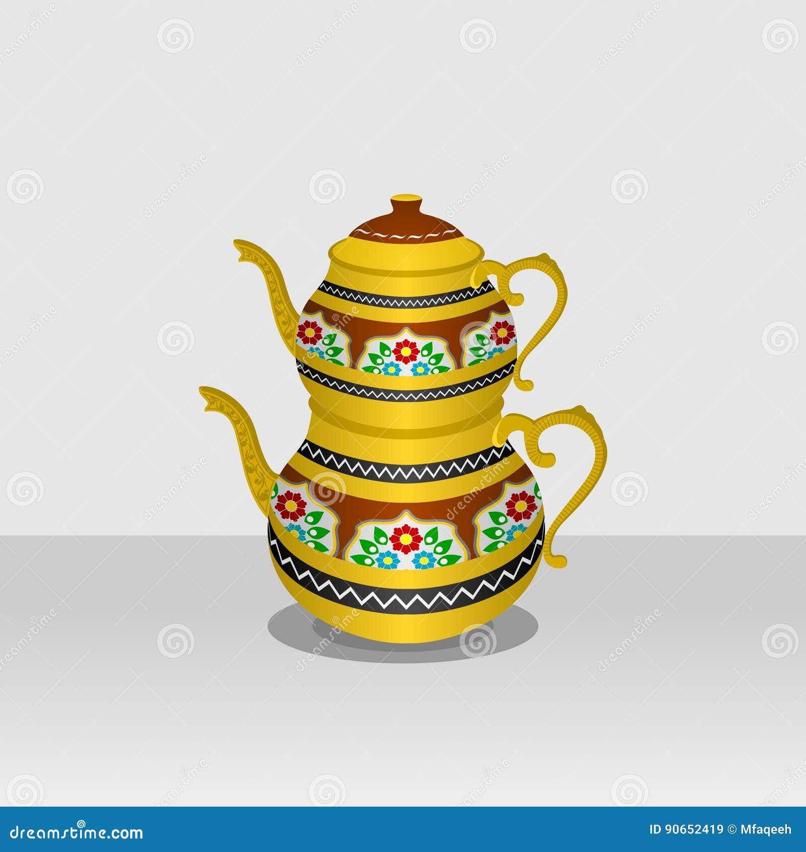 Turkish Tea Pot stock vector. Illustration of cafe ...