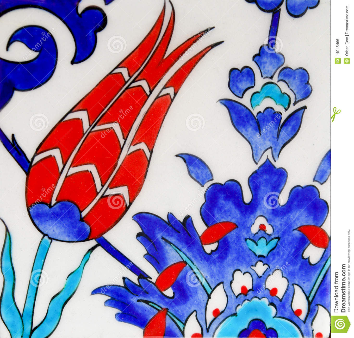 Turkish Tiles Tulip Design Royalty Free Stock Image