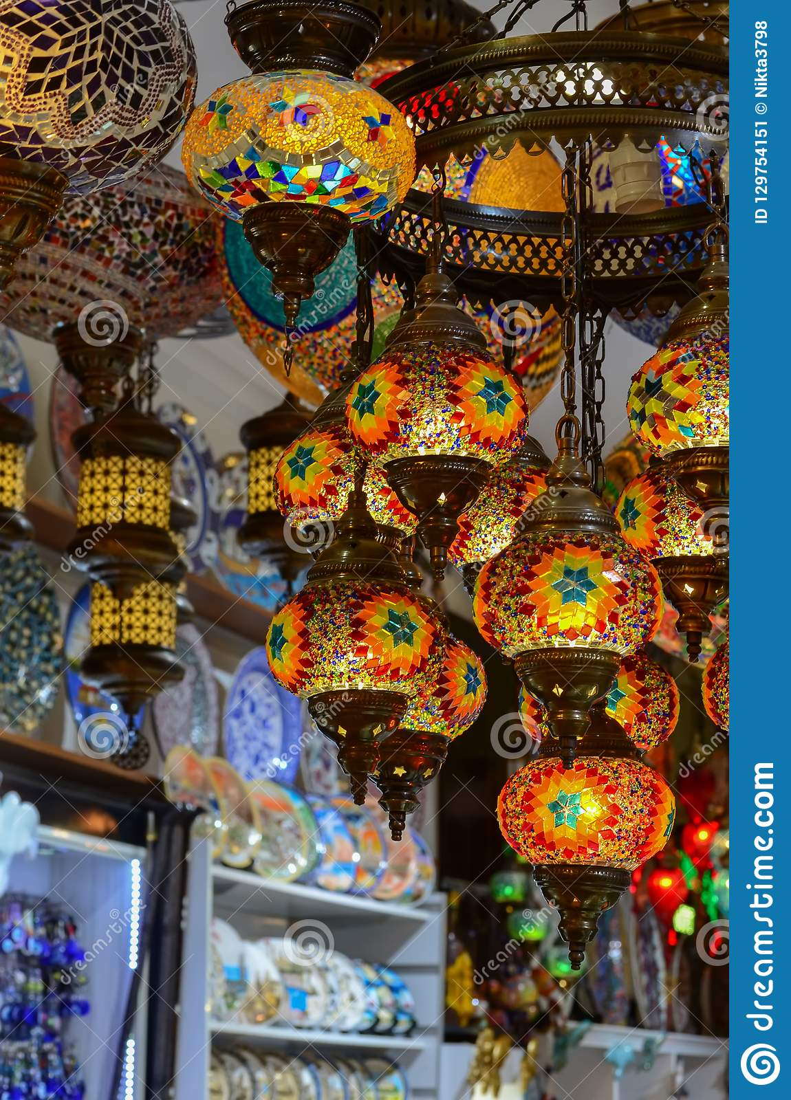 Turkish Traditional Colored Glass Craft Lights Grand Market