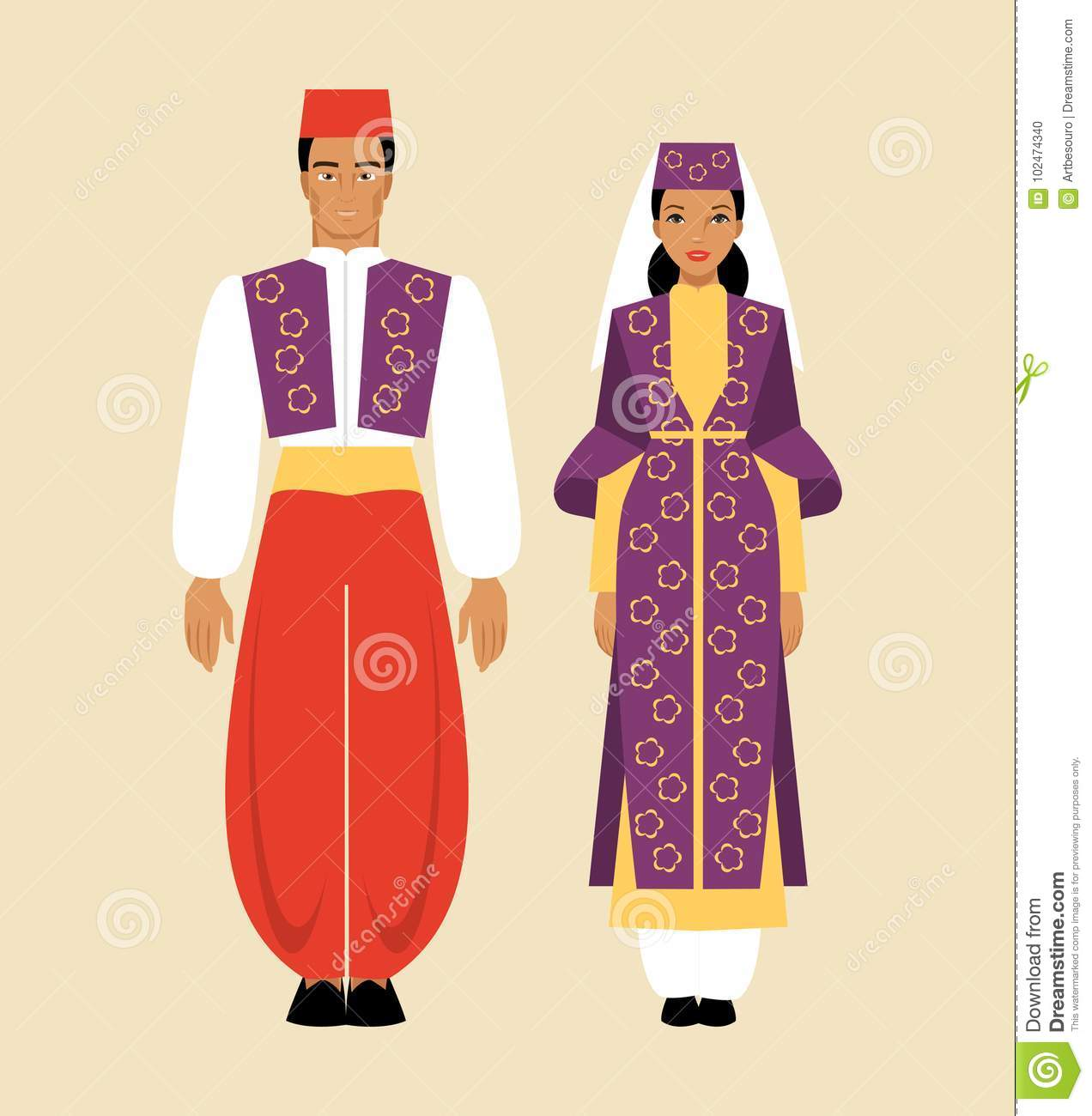 Turkish Traditional Costume Stock Vector - Illustration of