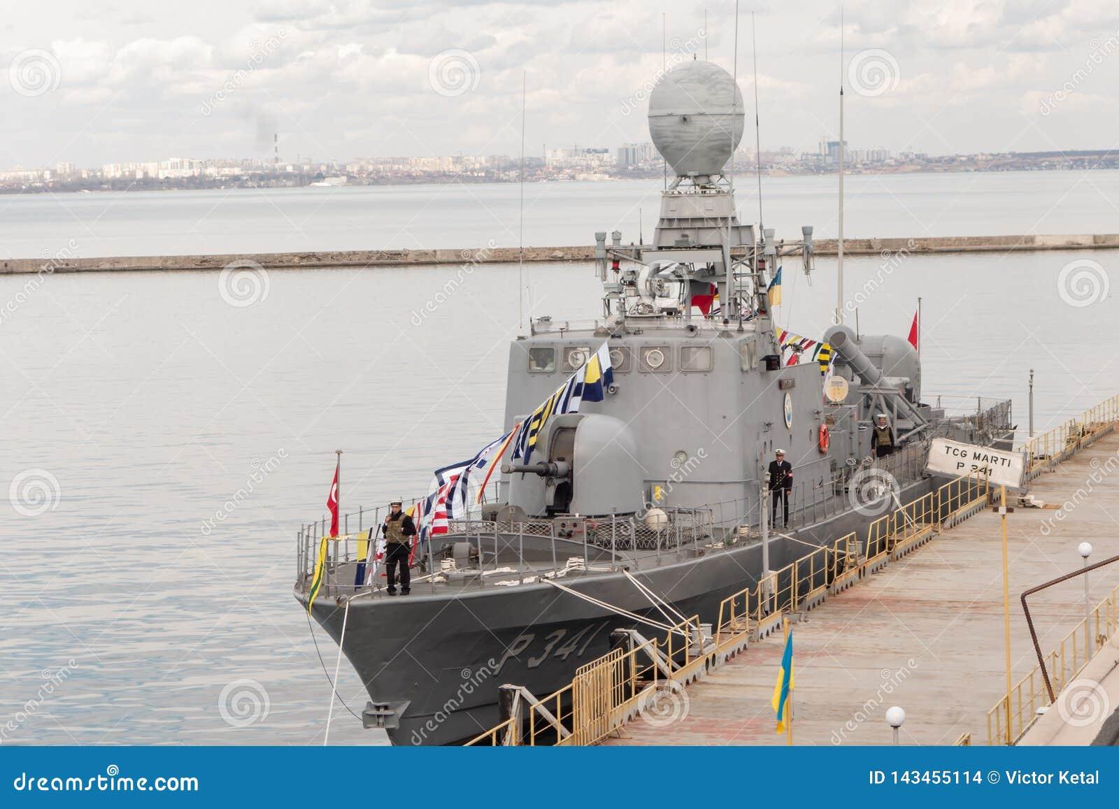 Turkish warship in the port of Odessa.NATO military forces in Ukraine. Odessa. Ukraine. 2019.03.06