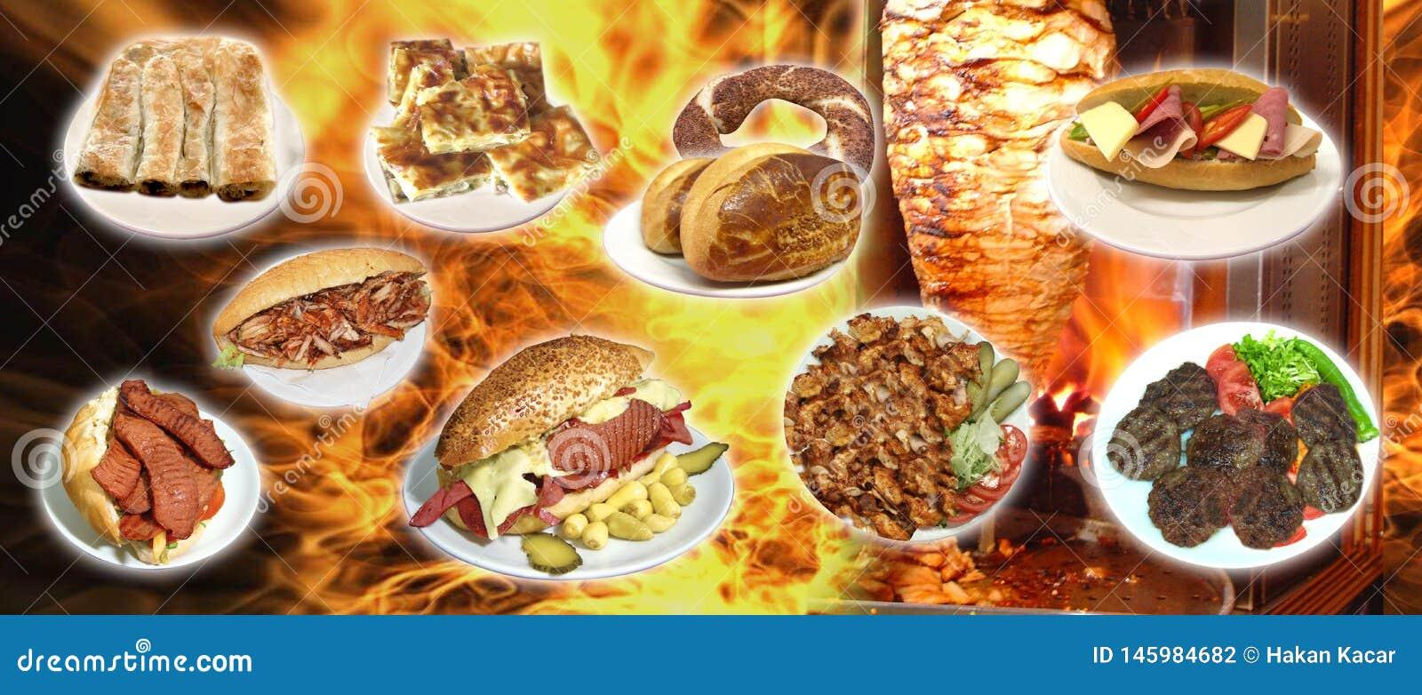 Turkiska foods, turk talar: yemekleri för türk, doner,