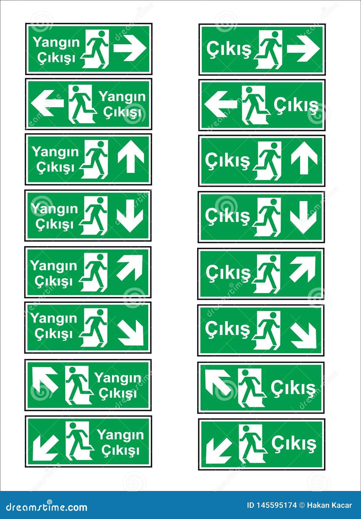 Turkiska signagemodeller, faratecken, f?rbjudet tecken, yrkes- s?kerhet och v?rd- tecken, varnande skylt, n?d- tecken f?r brand
