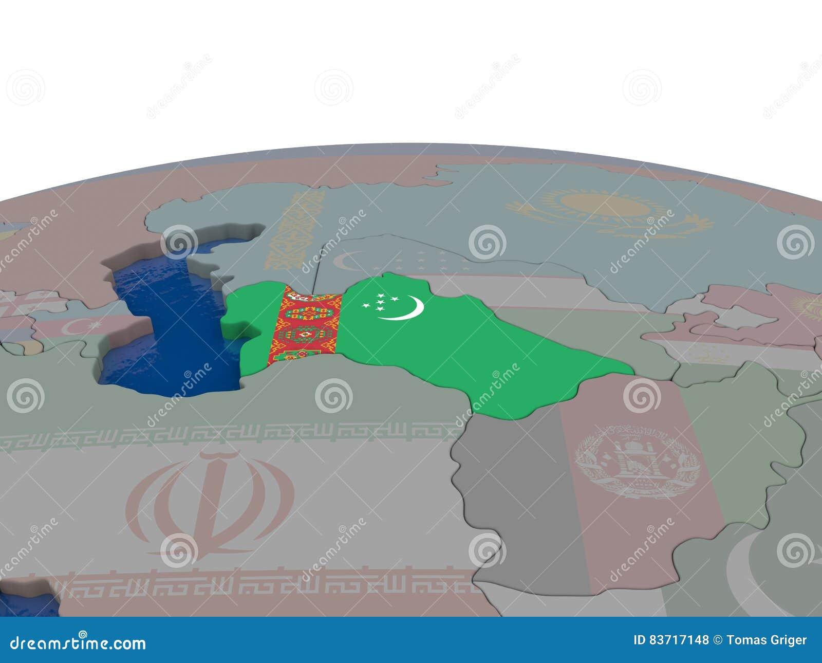 Turkmenistan With Flag Stock Illustration