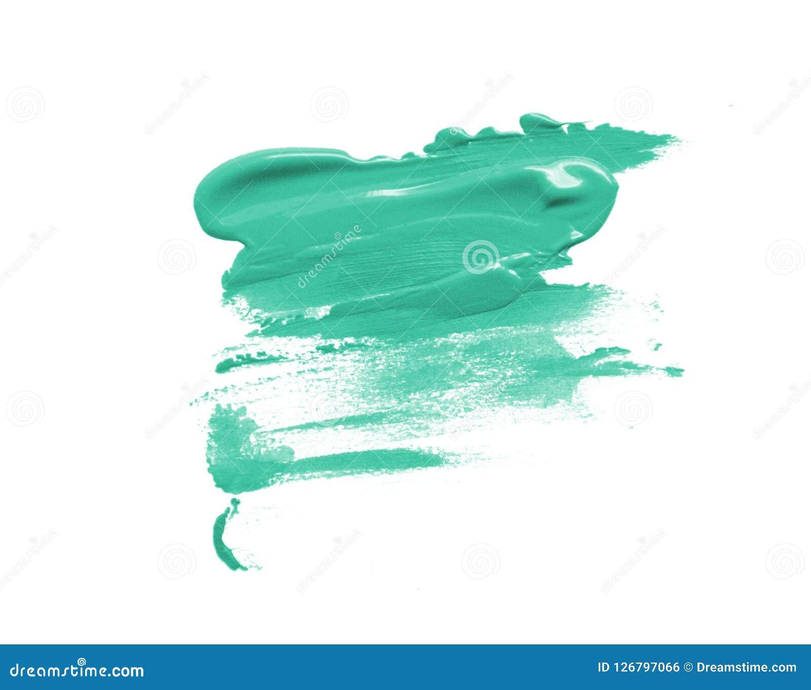 Turkooise mooie de vlekslag van de verfborstel op geïsoleerde witte achtergrond