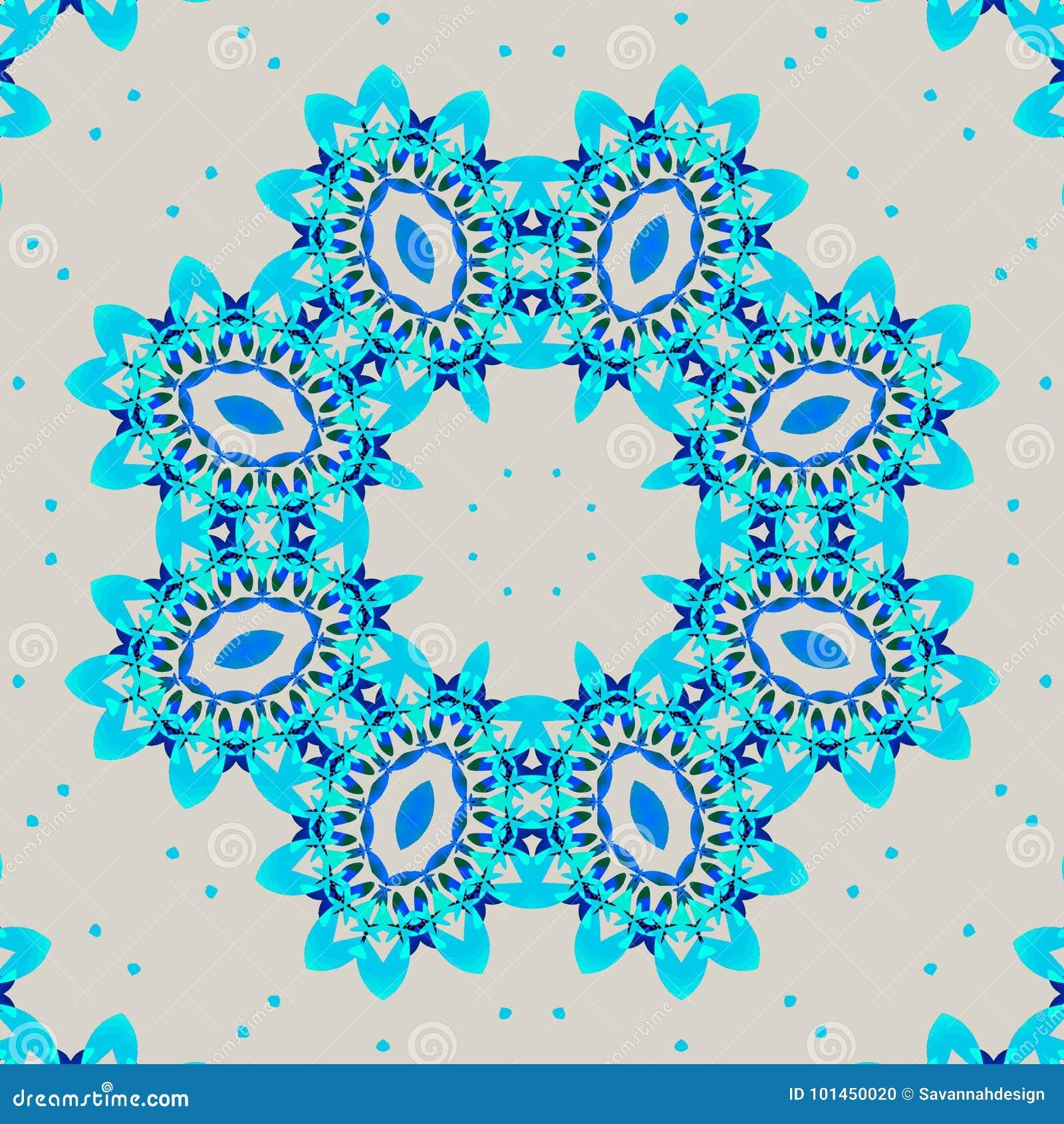 Turkosblått för sömlös retro prydnad och ljus - grå färger