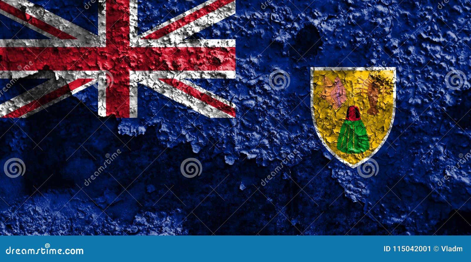 Turks- och Caicosöarna grungeflagga, brittiska utländska Territori