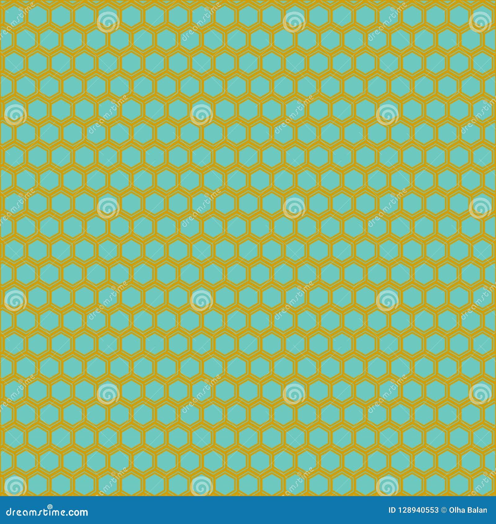 Turkusowy i złoty koloru sześciokąta wzór