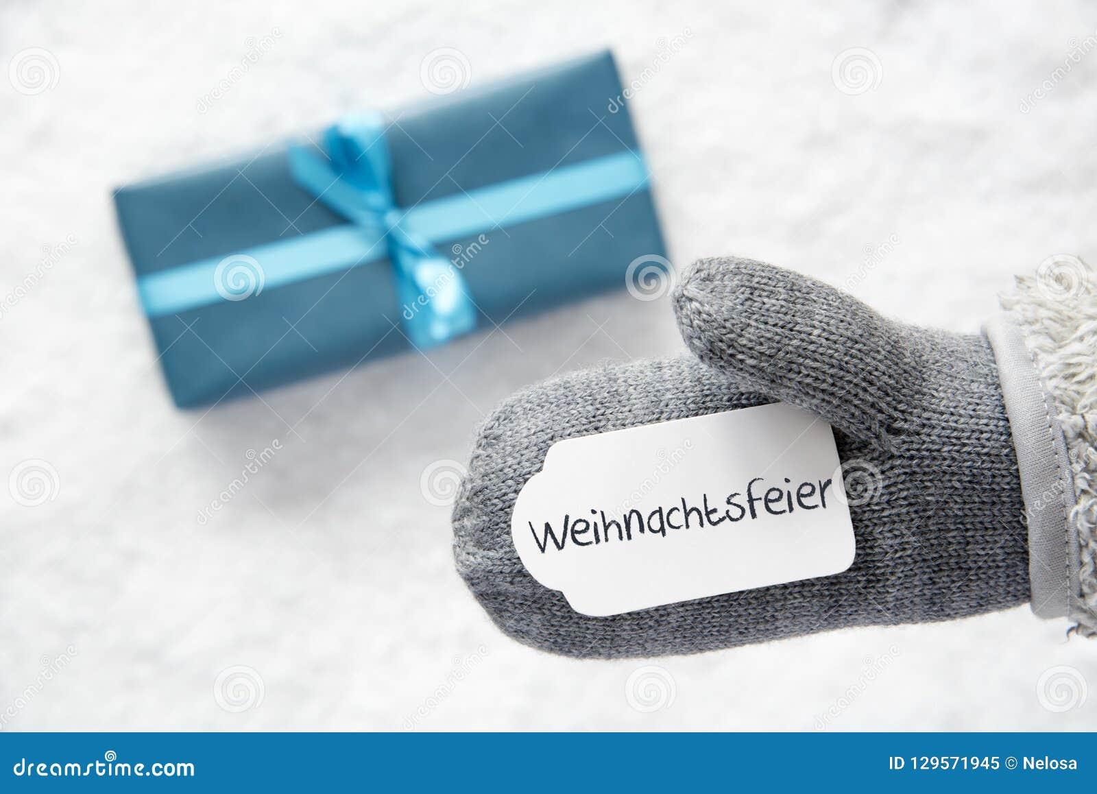 Turkusowy prezent, rękawiczka, Weihnachtsfeier Znaczy przyjęcia gwiazdkowego