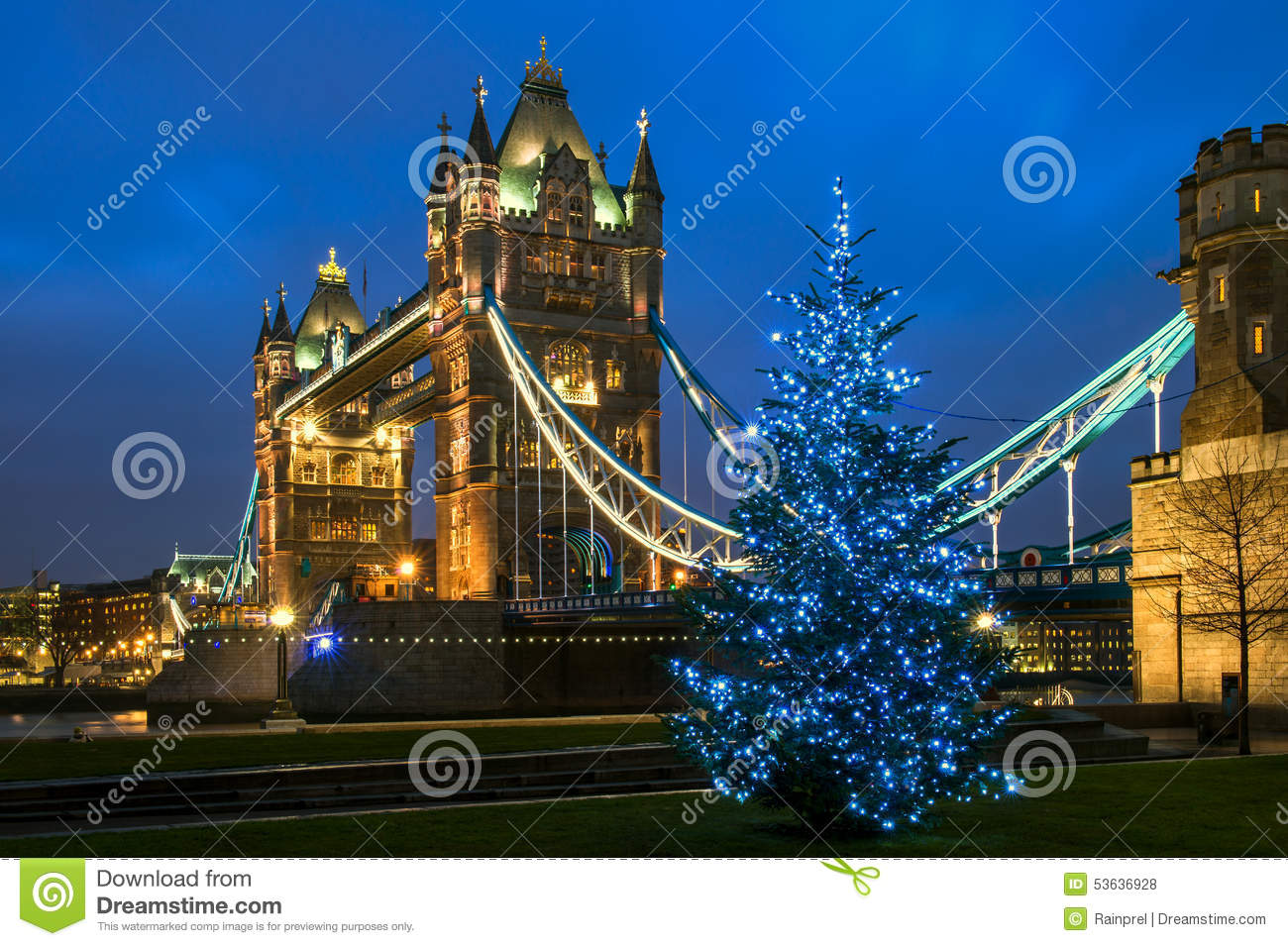 turm br cken weihnachten in london england stockfoto bild 53636928. Black Bedroom Furniture Sets. Home Design Ideas