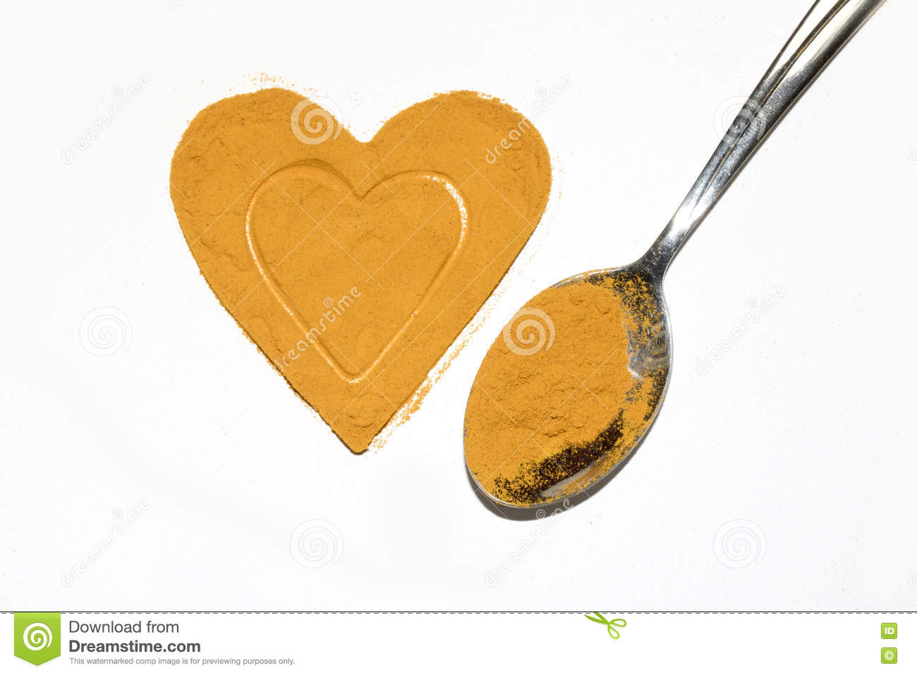 Turmeric Powder Heath Heart With Spoon Stock Photo - Image