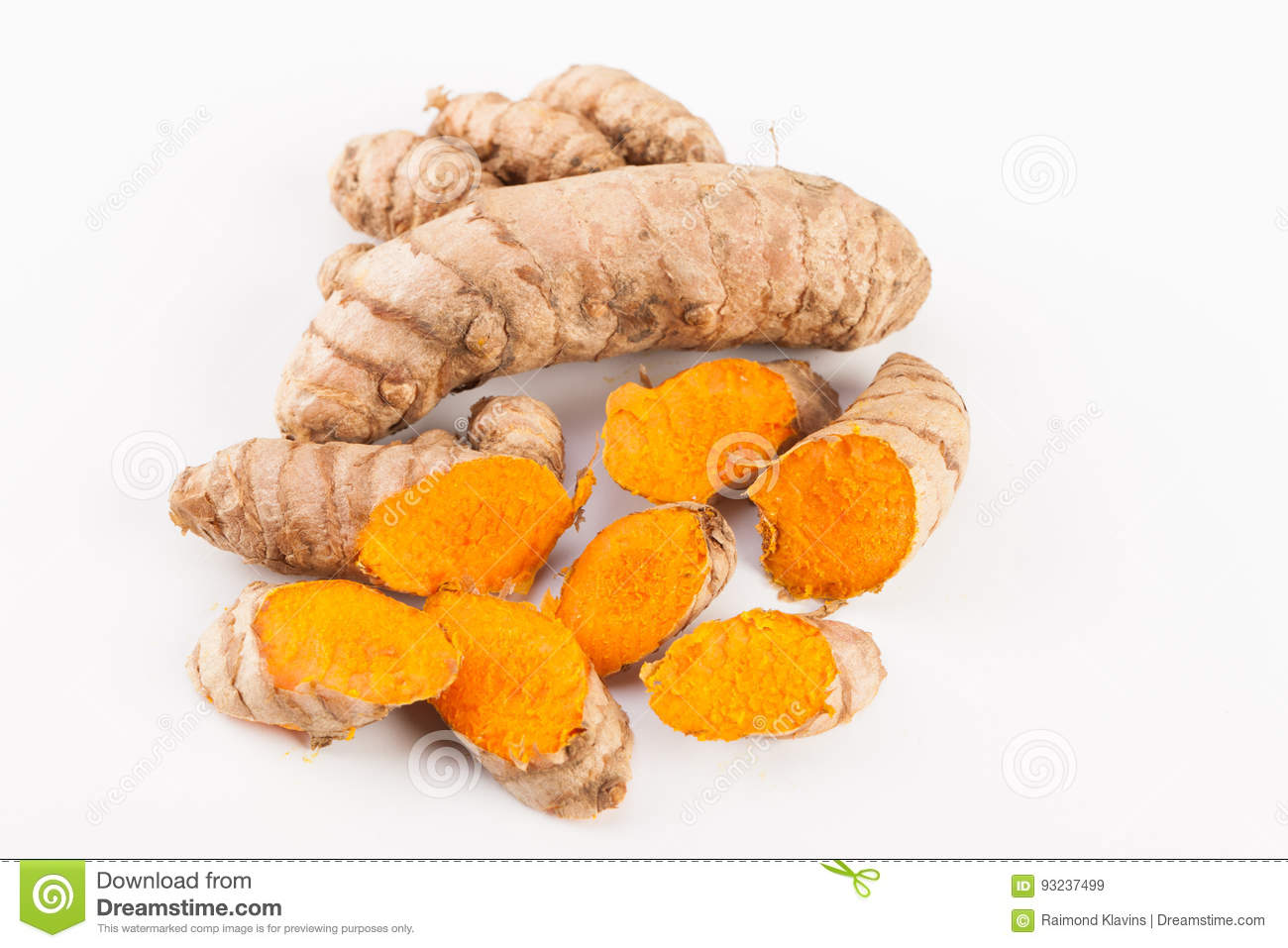 Turmeric Roots Isolated On White Background Stock Image