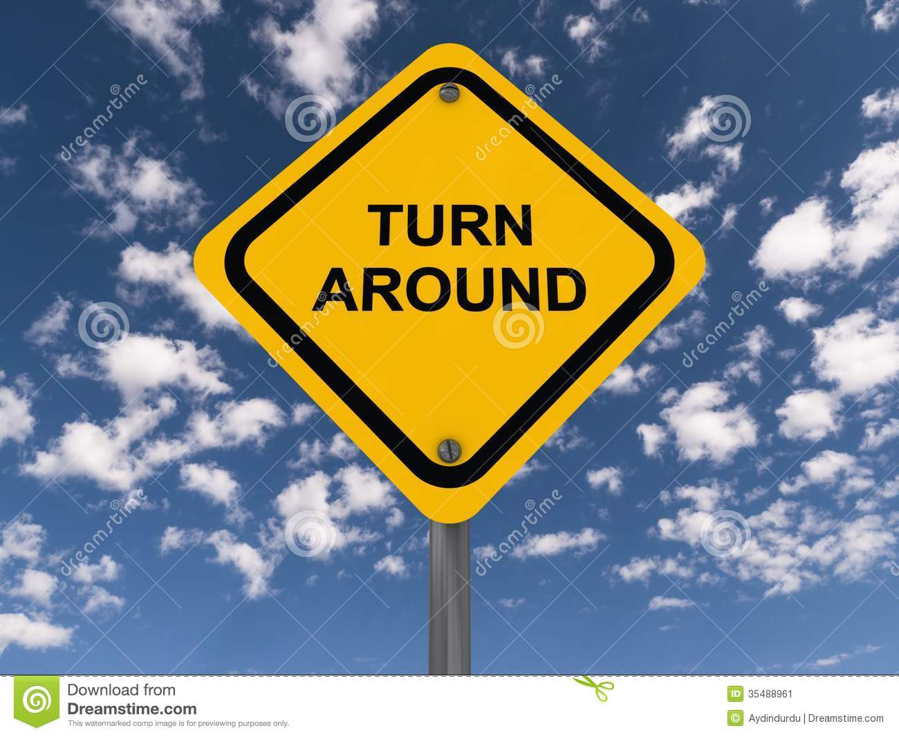 turn around sign stock image image of ending mark concept 35488961
