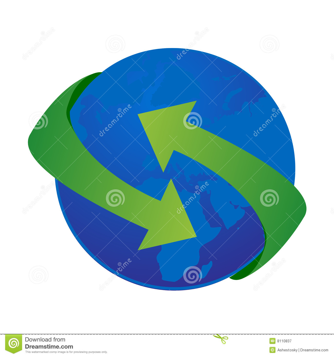 Vector illustration of the earth with big green arrows turning around ...