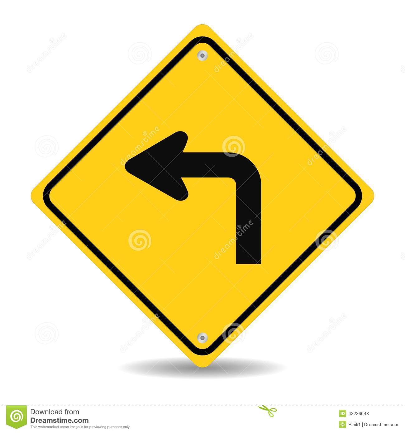 Turn left traffic sign