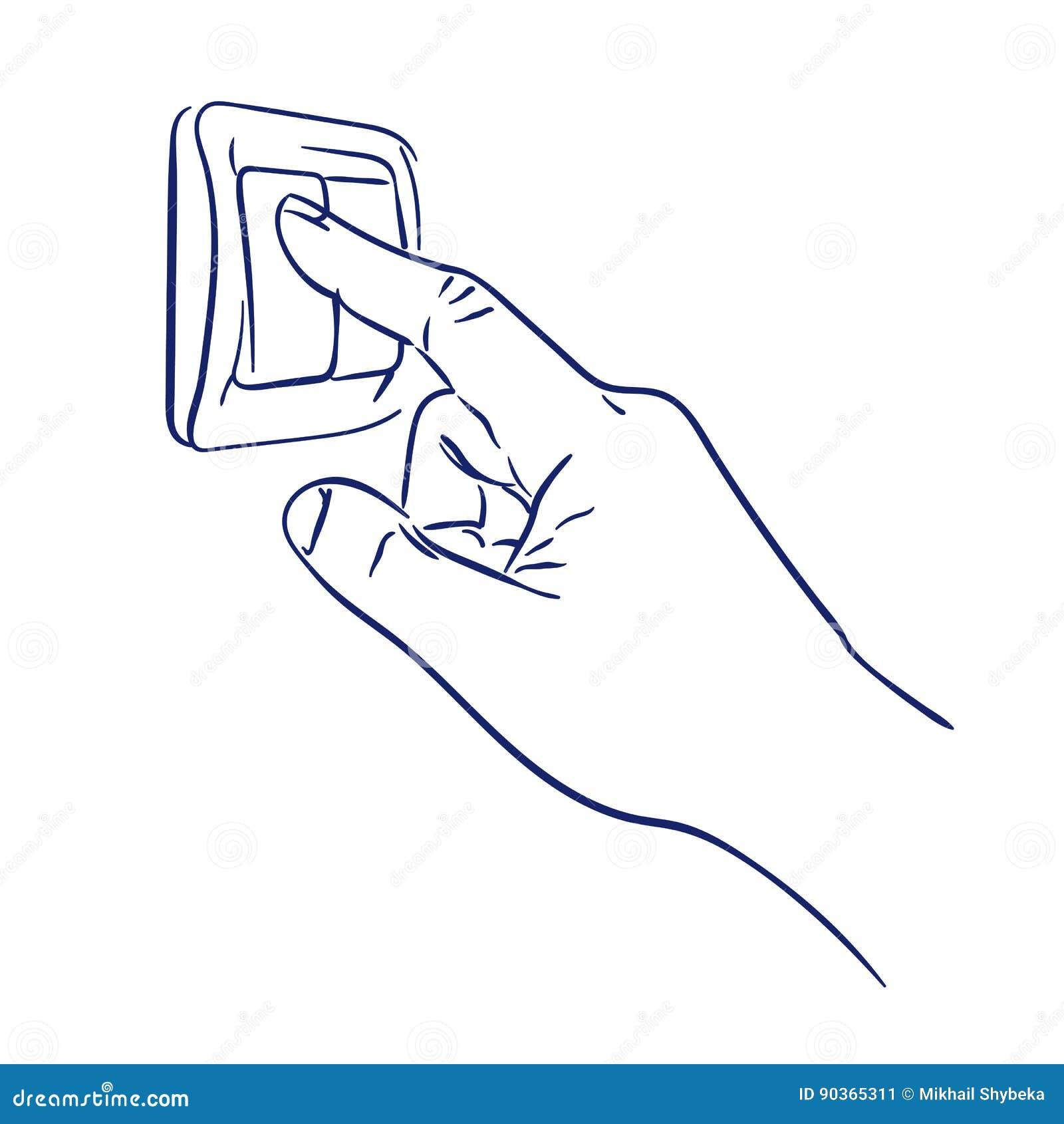 Turn The Light Switch On Hand Stock Vector - Illustration of finger ...