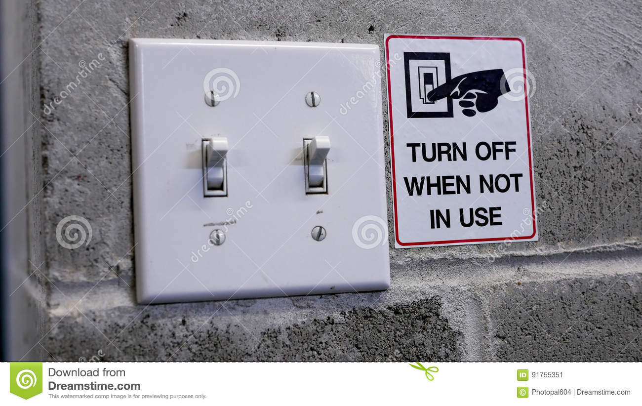 Turn off light switch by saving power concept