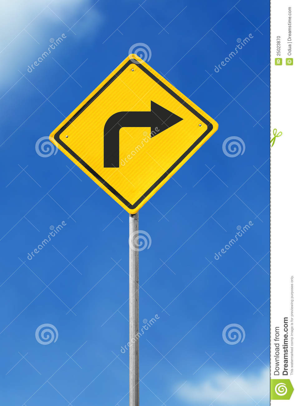 Turn Right Road Sign S...