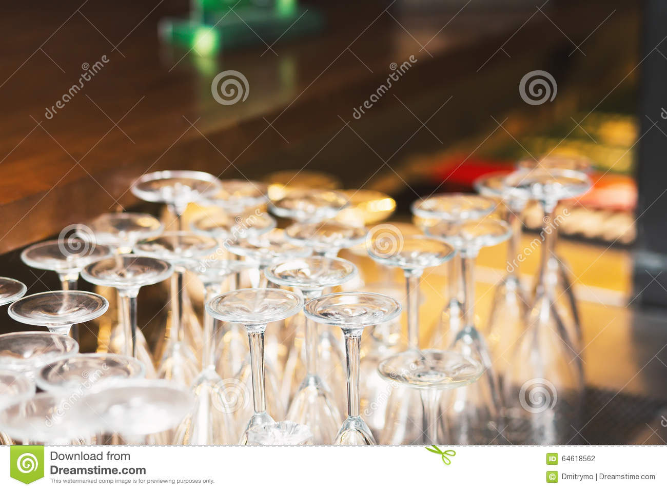 Turned Upside Down A Set Of Wine Glasses Stock Photo Image Of