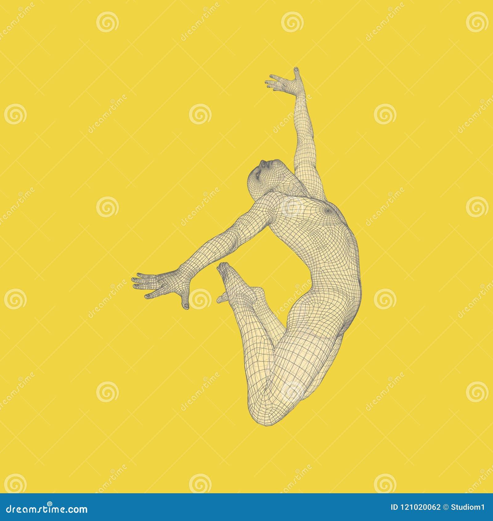 Turner führt ein künstlerisches Element durch Rhythmische Gymnastik, Akrobatik und Aerobic