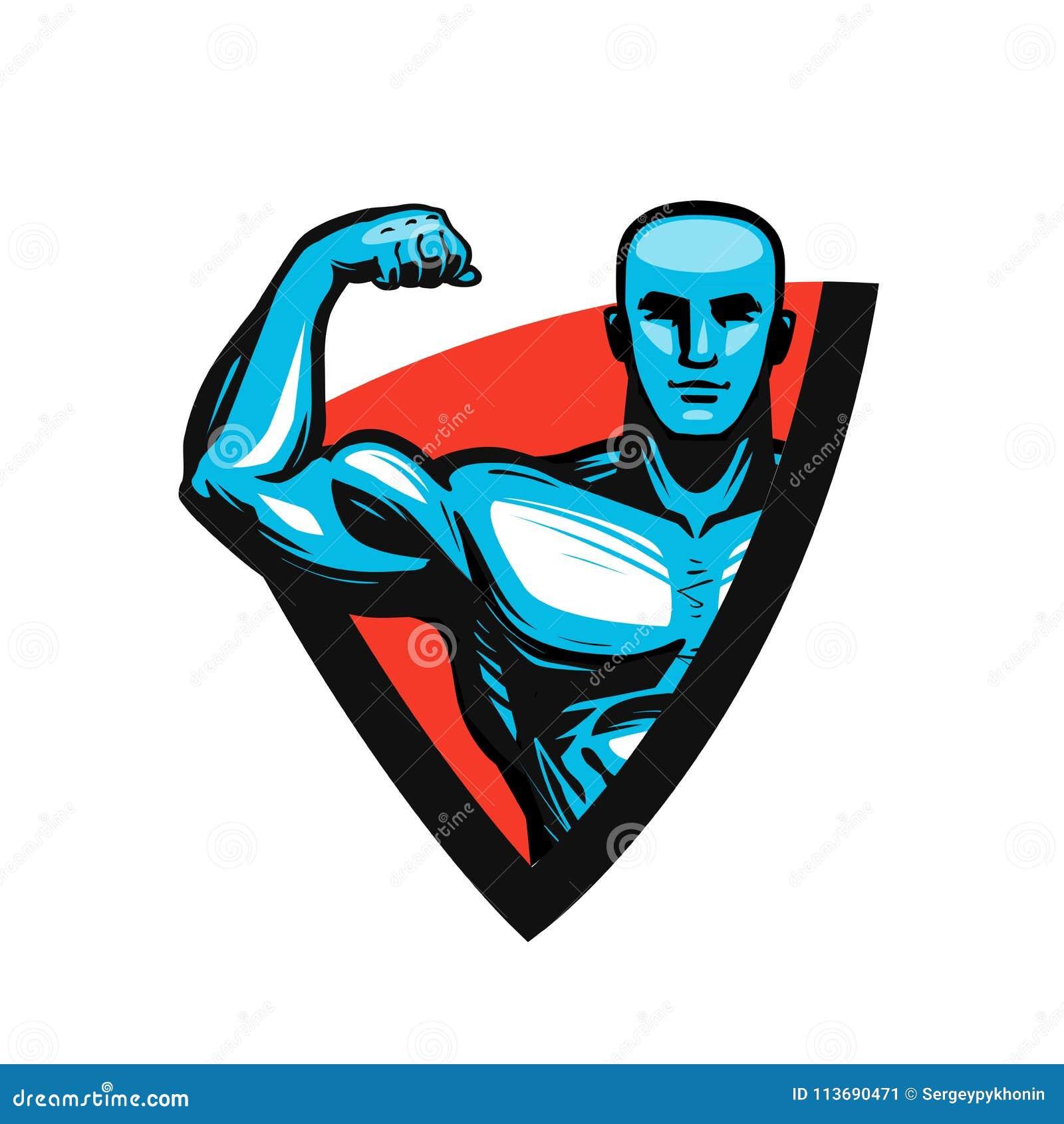 Turnhalle, Bodybuilding, Eignungslogo oder Aufkleber Muskelmann oder -bodybuilder Auch im corel abgehobenen Betrag