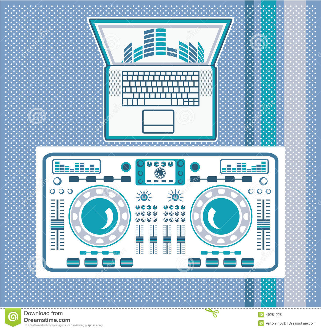Download Turntable With Laptop DJ Equipment Vector Stock