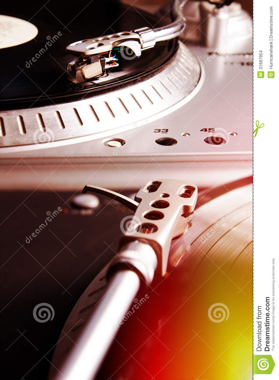 Turntable Playing Vinyl Record With Music Stock Photo Image 31687954
