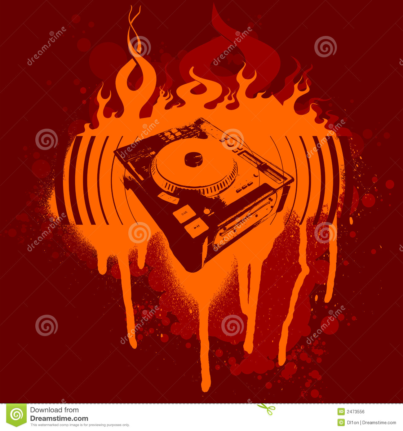 Turntable Red Graffiti. Royalty Free Stock Image - Image: 2473556