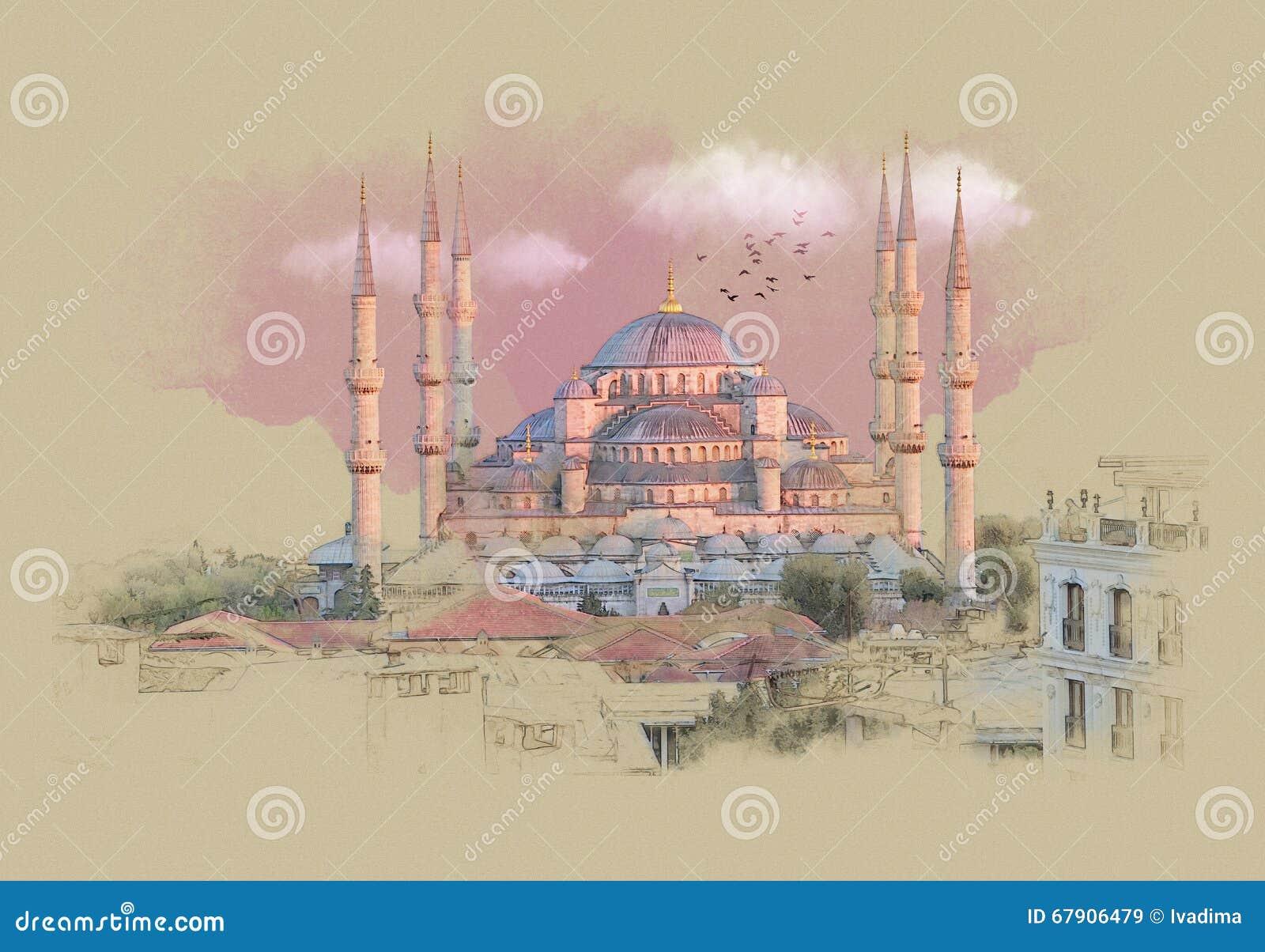 Turquía Estambul, gráficos en el papel viejo