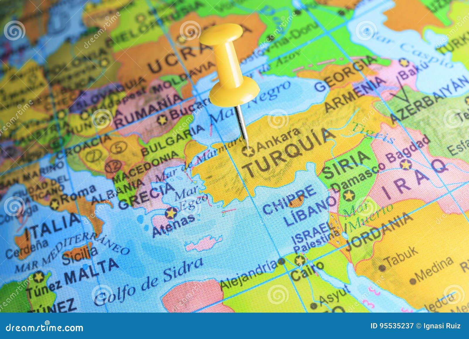 Turquía Fijó En Un Mapa De Europa Imagen de archivo ...