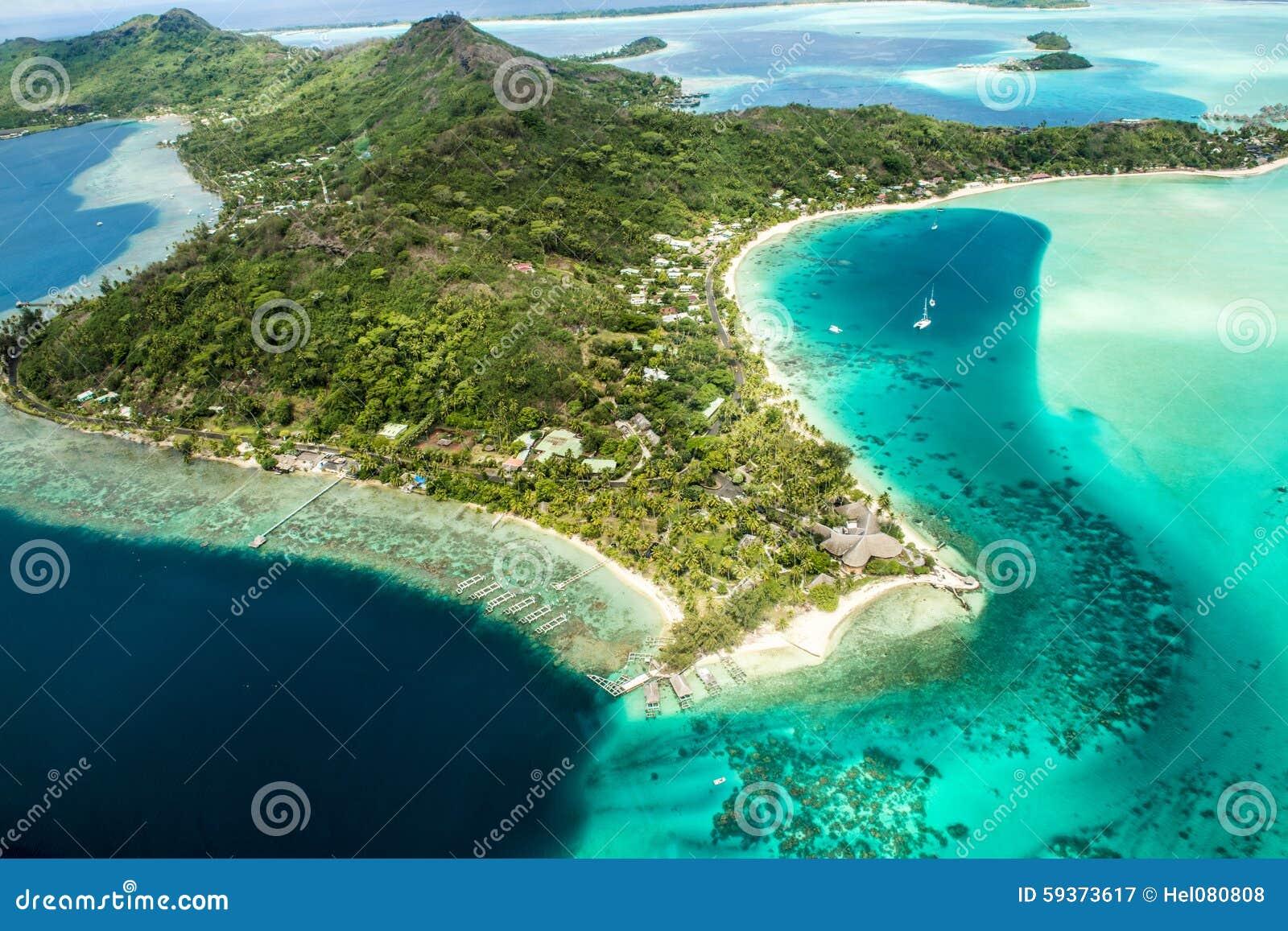 Turquesa y colores azules de Bora Bora