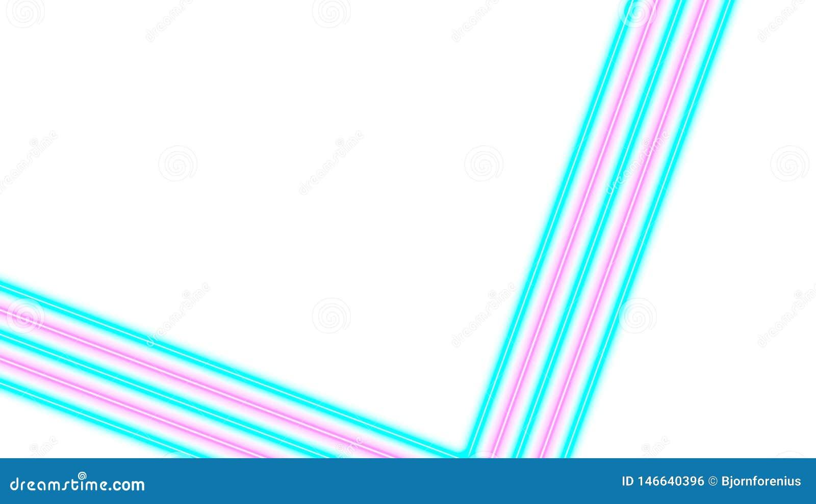 Turquesa y luces de ne?n rosadas con las porciones de espacio de la copia para la exhibici?n del texto o del producto