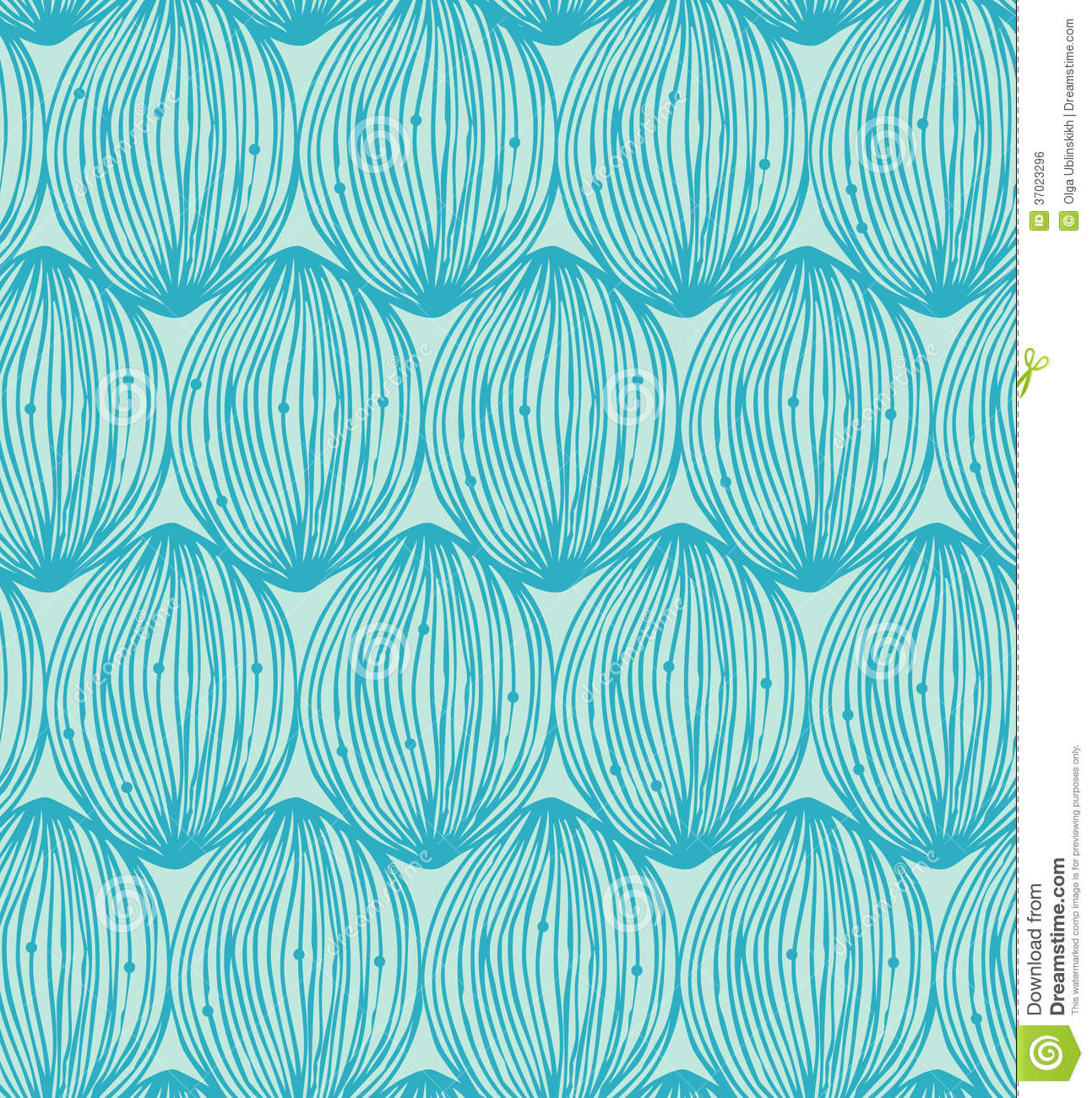 Turquoise Abstract Linear Pattern. Seamless Decorative